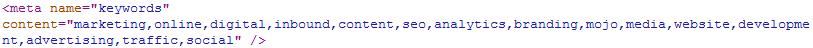 Meta Data Keyword Example