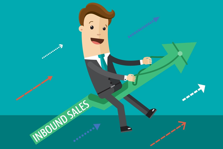 Salesman Riding a Rocket of Inbound Sales - Sales Enablement