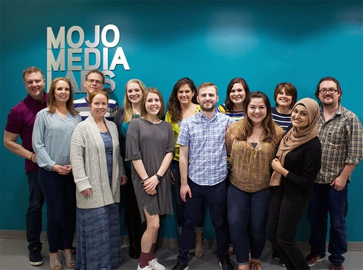 Mojo Media Labs Team 2018 in the Lobby of the Dallas Digital Marketing Agency