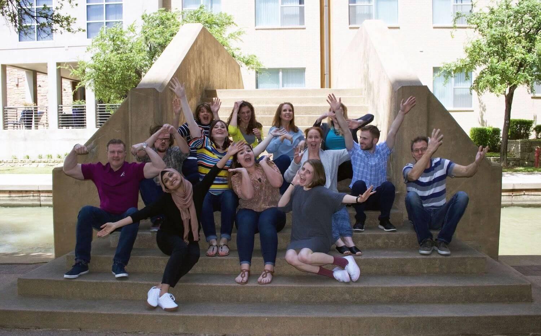 Mojo Media Labs Team 2018 Outside on Steps
